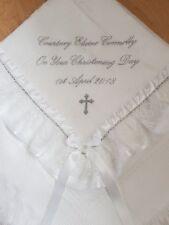 beautiful WHITE baby christening shawl  *PERSONALISED* bling