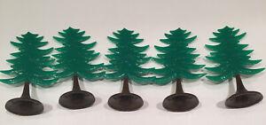 5  Perfect Plasticville Evergreen Hard Plastic Green Christmas Trees Train RR