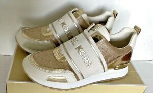 New Michael Kors Teddi Trainer sneakers size 6 White / Pale Gold / Glitter