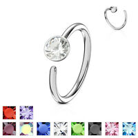 1pc Bendable Steel CZ Gem Nose Hoop / Cartilage Ring Rook Daith Helix Tragus