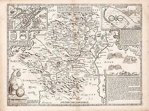 Old Vintage Hertfordshire England decorative map Speed ca. 1676 paper or canvas