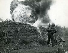 "Marine flame-thrower attacks a Japanese Pillbox 8""x 10"" World War II Photo #66"