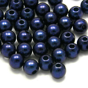 Lot of 200 Little 6mm Round Plastic Acrylic Faux Pearl Beads With Luster Finish