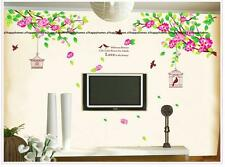 PINK Hibiscus Flower Blossom Tree Cage birds Wall stickers Art Bed LOUNGE Decal