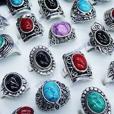 Antique 10pcs Turquoise Women Mens Vintage Silver Rings Wholesale Jewerly Lots