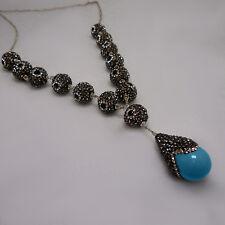 """CZ Turquoise Tear Drop Pendant Princess Rivière .925 Silver 24"""" Necklace"""