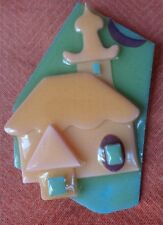 Vintage Lucinda House Pin Scandinavian Church Peach & Green ~ FREE SHIPPING