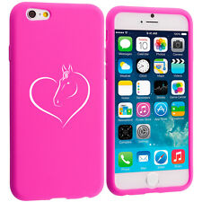 For Apple iPhone 4 4s 5 5s 5c 6 6s Silicone Soft Rubber Case Cover Heart Horse