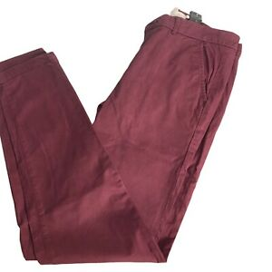 H&M L.O.G.G Size 10  Eur 38  Burgundy Casual Chino Slim Fit Trousers W32 L29