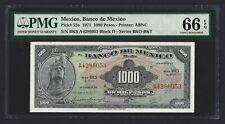 MEXICO 1000 Pesos 1971 P-52o, PMG 66 EPQ, Gem UNC Scarce Grade, Pretty Type