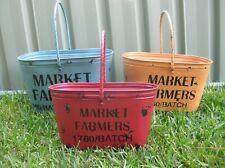 SET OF 3 RUSTIC METAL RED YELLOW BLUE FARMERS MARKET PLANTER TUB BUCKETS