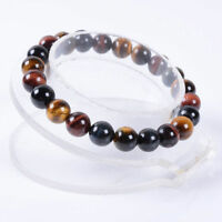 Natural 8mm Multi-color Tiger's Eye Round Gemstone Beads  Elastic Bracelet 7.5''