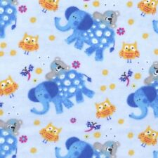 Fabric Baby Elephants Owls on Blue Flannel by the 1/4 yard