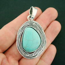 Turquoise Pendant Charm Antique Silver Tone Faux Turquoise Stone - SC7110