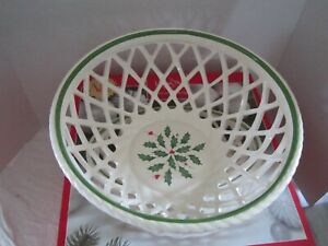 """LENOX Holiday Open Weave Bread Basket 10.25"""" x 4"""" Holly Bowl American by Design"""
