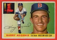 1955 Topps #152 Harry Agganis ROOKIE RC VG-VGEX WRINKLE Boston Red Sox FREE S/H