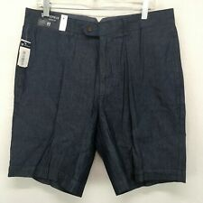 Cremieux Mens 33 Shorts Newport Blue Striped Flat Front NWT