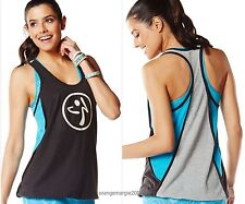 "ZUMBA Fitness DANCE! Blocked Bubble RacerBack Top Tee Shirt Tank ~ ""Bangin Blue"""