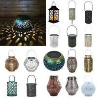 Hollow Solar LED Iron Art Lantern Light Outdoor Garden Yard Decor Hanging Lamp