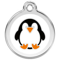 Red Dingo Penguin Enamel/Solid Stainless Steel Engraved ID Dog/Cat Tag