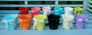 METAL TIN FLOWER BUCKET WITH RIBBONS POT CONTAINER WEDDING FAVOURS 10.5CM