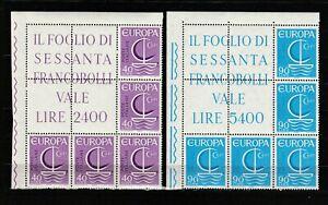 s37643 ITALIA  MNH** 1966 EUROPA CEPT 2v BLOCCO ANGOLARE di 5 Sassone 61/62