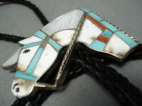 IMPORTANT VINTAGE ZUNI HORSE TURQUOISE INLAY STERLING SILVER BOLO TIE OLD