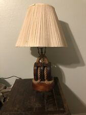 Vintage Ship's Block rope Lamp nautical decor
