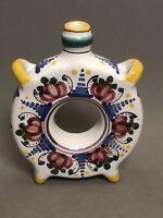 Majolica Modra Pottery Ceramic Footed Ring Vase Floral Design, Slovakia