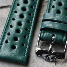 Heuer Camaro green 1960s/70s vintage Swiss watch band 19mm w/ steel Heuer buckle