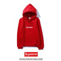 Red Supreme Box Logo Hoodie classic box logo Hip Hop Hoodie Embroidered