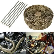 7.5M Titane Isolant Thermique Bande Moto Tuyau Echappement Tissu Wrap+6 Colliers