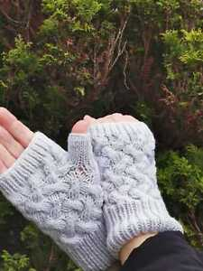Hand Knitted New Wool Cashmere White Fingerless Gloves Mittens Size S / M
