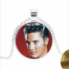 Elvis Presley Jewelry Tibet silver Glass dome Necklace chain Pendant Wholesale
