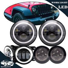 "Halo 7"" Black Led Headlight+2X4""Led Fog Lamp Turn Signal Light For Jeep Wrangler"