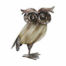 Metal Garden Owl Ornament Patio Sculpture Garden Free Standing Rustic Wood