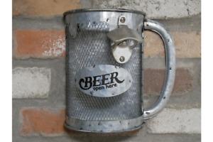 BEER STEIN BOTTLE OPENER & TOP COLLECTOR METAL RETRO VINTAGE STYLE MAN CAVE GIFT