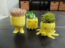 SET OF 3 CUTE YELLOW CONTAINERS PLANTER TOYS BELLY LEGS OCTOPUS PAC MAN GHOST