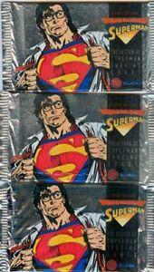 SUPERMAN RETURN of SUPERMAN BOOSTER PACKS X3 SKYBOX 1993 FACTORY SEALED VINTAGE!