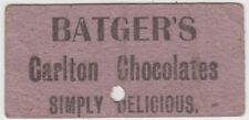 WW1 BATGERS  Carlton Chocolates advertising tram ticket by ANZAC soldier Irvine