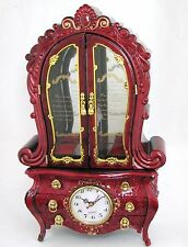NEW RED+GOLD TONE DELUXE FRENCH CABINET STYLE CLOCK,JEWELRY+MUSIC BOX-FUR ELISE