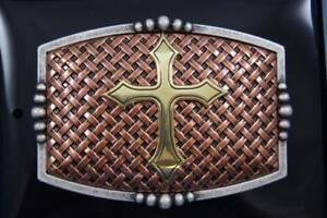 Nocona Copper Basket Weave with Gold Cross Belt Buckle 37115