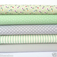 5 fat quarter fabric bundle silver & mint mix 100 % cotton poplin for sewing