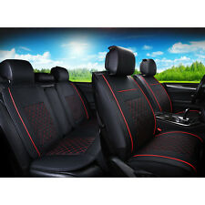 US M Size 5 Seats PU Leather Seat Covers Car Sedan BlackRed 4pc Pillow Gift Set Fits 2017 Volkswagen Polo