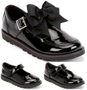 New Girls Children Formal Smart Casual Shinny Bow Back To School  Shoes