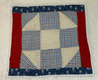 Vintage Patchwork Quilt Table Topper, Nine Patch, Checks, Blue, Red, White
