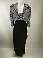 Alex Evenings dress jacket 12 Slinky Black Glitter 2 PC Formal Holiday evening