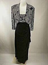 Alex Evenings dress jacket 12 Slinky Black Glitter 2 PC Formal Holiday evening