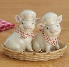 Lenox Pigs In A Basket Salt & Pepper Set new box Coa