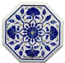 12 Inches Marble Coffee Table Inlay Patio Side Table with Lapis Lazuli Stone Art